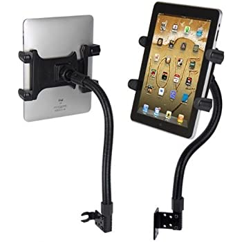 "Robust Seat Bolt Tablet Car Mount Vehicle Swivel Cradle Mount Holder for Apple iPad 3, 4 iPad Mini, iPad Air, Pro, Samsung Galaxy TAB A E S4 S3 S2 (All 7-12"") Tablets w/Anti-Vibration Goose Neck"