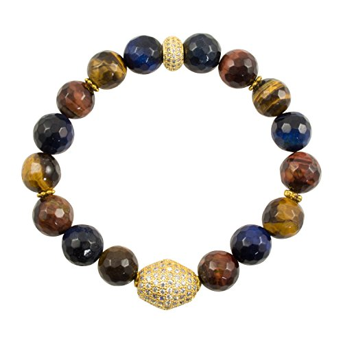 Just Give Me Jewels Genuine Faceted Tigers Eye Stretch Bracelet with Vermeil CZ Pave Beads
