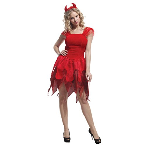 Devil Red Dress Costume (Spooktacular Women's Elegantly Evil Fancy Red Devil Dress Costume, S)
