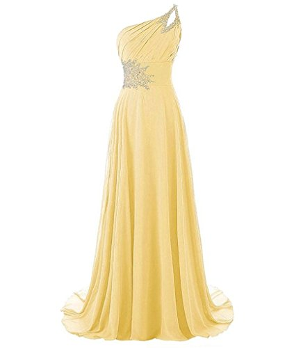 Sweep Shoulder One - Kivary Long A Line Beaded One Shoulder Formal Corset Prom Evening Dresses Yellow US 8