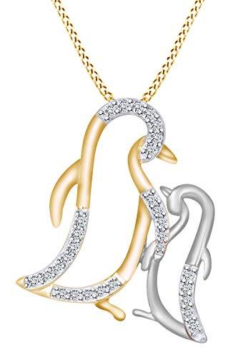 AFFY White Cubic Zirconia Penguin Mom & Baby 14k Yellow Gold Over Sterling Silver Two Tone Pendant Necklace