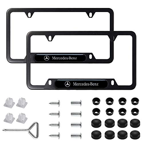 2Pcs Newest Custom Personalized 4 Hole Matte Aluminum alloy License Plate Framewith Screw Caps Cover Set,Applicable to US Standard car License Frame, for Mercedes Benz(Matte Black). (Mercedes Benz) ()