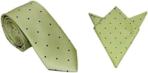 Gold Blue Polka Dot Skinny Tie & Pocket Square Set | 5 Yr Warranty | Poka Dot Tie | Tie and Hanky Combo