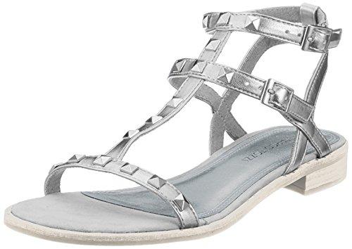 Tozzi Sandali Donna alla Caviglia Argento con Metall 28102 Silver Cinturino Marco SadqnS