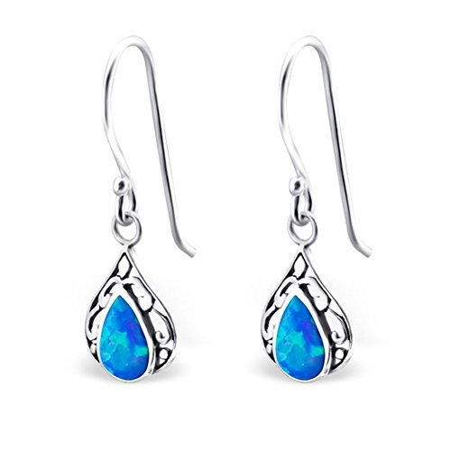 Teardrop Synthetic Opal Silver Dangle Earrings Vintage Antique Style Stering Silver 925 (Pacific Blue) by PTN Silver Jewelry