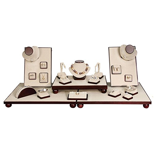 (23-Pc Set) Magnetic Beige Linen With Dark Wood Trim Display Set (Set76-DW,LE), 40 1/4'' x 16'' 9 3/4'' H by EDS BOX JEWELRY SUPPLY