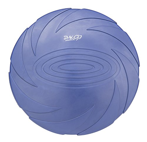 IMK9 Dog Flying Disc Toy - for Small, Medium, or Large Dogs - Soft Natural Rubber Ring for Safety - Best Color Toys for Dogs to See - Heavy Duty, Aerodynamic Design for Outdoor Flight