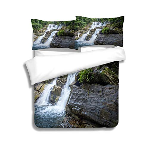 MTSJTliangwan Family Bed Waterfall in Nature Southern of Thailand 3 Piece Bedding Set with Pillow Shams, Queen/Full, Dark Orange White Teal Coral (Best Waterfalls In Southern California)
