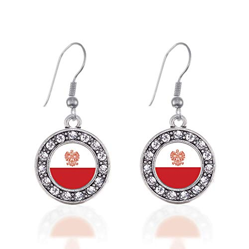 (Inspired Silver - Polish Flag Charm Earrings for Women - Silver Circle Charm French Hook Drop Earrings with Cubic Zirconia Jewelry)