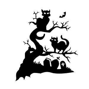 Spooky halloween wall tattoo halloween black cat tree - Halloween fensterdeko ...