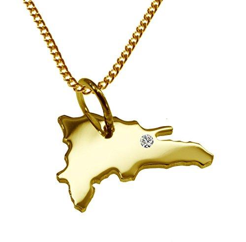 Endroit Exclusif République dominicaine Carte Pendentif avec brillant à votre Désir (Position au choix.)-avec Chaîne-massif Or jaune de 585or, artisanat Allemande-585de bijoux