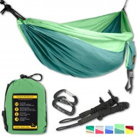 Single Eagle Camping Hammock Set - 108 x 55 in - 440 lbs load- Incl. 2 carabiners and 2 ropes - Top Rated Best Quality Lightweight Parachute Nylon 210T Camping Hammocks for Hiking, GREAT XMAS GIFT.