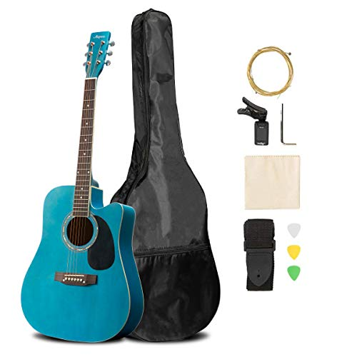 ARTALL 41 Inch Handmade Solid Wood Acoustic Cutaway Guitar Beginner Kit with Tuner, Strings, Picks, Strap, Matte Blue