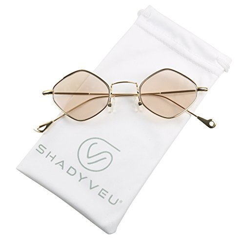 ShadyVEU - Exclusive Diamond Shaped Candy Color Tint Flat Lens Vintage Sunglasses (Gold Frame / Honey Lens, - Sun Glasses Channel