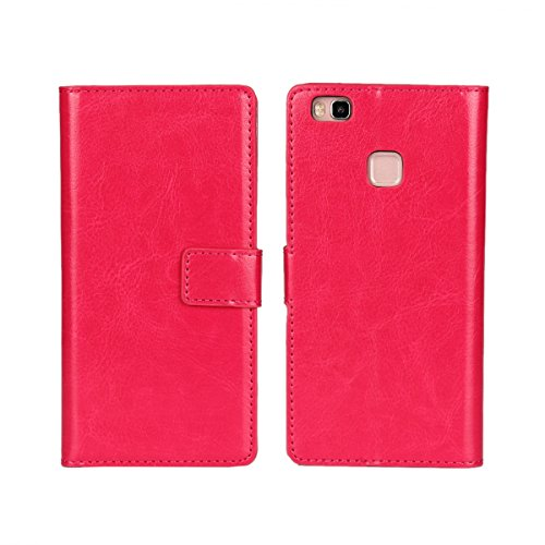 Huawei P9 Lite/G9 Lite Funda,COOLKE Retro PU Leather Wallet With Card Pouch Stand de protección Funda Carcasa Cuero Tapa Case Cover para Huawei P9 Lite/ G9 Lite - Rojo Rose