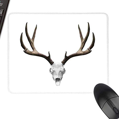 Antlers Decor Thicken Mouse Pad A Deer Skull Skeleton Head Bone Halloween Weathered Hunter Collection Laptop Desk Mat, Waterproof Desk Writing Pad 11.8