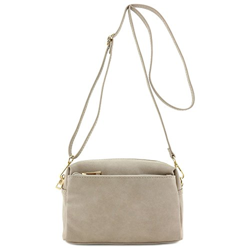 Small Triple Zip Crossbody Bag Beige Brick by FashionPuzzle