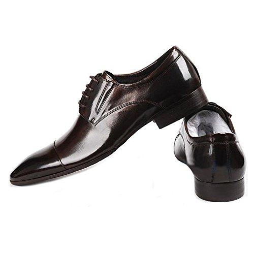 Fulinken Heren Leren Formele Schoenen Oxford Laarzen Klassieke Cap Teen Heren Zakelijke Schoenen Bruin
