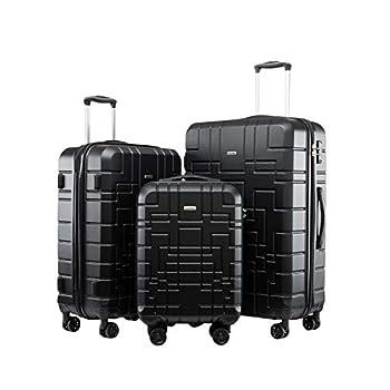 Image of Seanshow Luggage Sets Suitcase Sets Spinner Wheel Hardshell Lightweight Luggage with TSA 18-24-28in Luggage