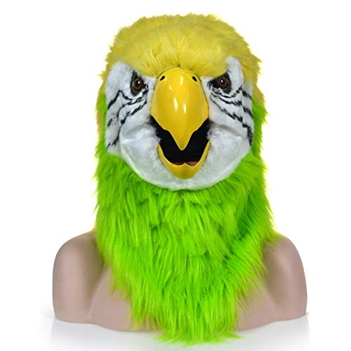 KX-QIN Realistic Handmade Customized Cosplay Moving Mouth Mask Red Parrot Furry Simulation Animal Mask Deluxe Novelty Halloween Costume Party Latex Animal Head Mask for Adults and Kids by KX-QIN