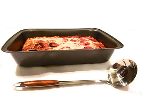 (April Supply 9 inch by 14 inch Detroit Style Deep Dish Square Pizza Pan with Sauce Ladle Sicilian Rectangular Bake Dish with Stainless Steel Ladle)