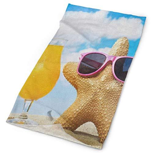 Headband Cool Starfish With Sunglasses Sand Beach Blue Sky Outdoor Scarf Mask Neck Gaiter Head Wrap Sweatband Sports Headwear