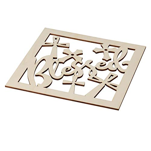 2 X Shape 2 Die - Genie Crafts 2-Piece Wood Blessed Cross Wall Art - Unfinished Die Cut Out Shape Religious Decor for Painting and DIY Arts and Crafts, 11.625 x 0.2 Inches