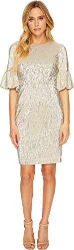 Donna Morgan Women's Short Bubble Sleeve Bodycon in Shimmer Novelty Fabric Light Gold 8 by Donna Morgan