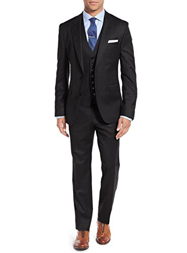 Salvatore Exte Men's 3-Piece Vested Suit Set 2 Button Blazer Pants Plus Tux Vest (50 Regular US / 60R EU/W 44