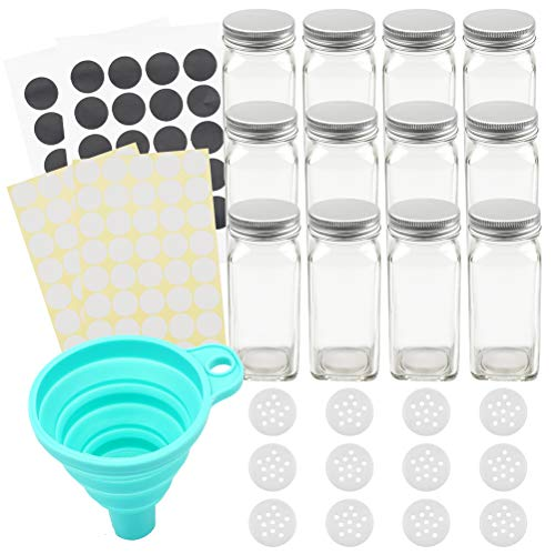 Tebery 12 Pack Spice Jars Bottles 4oz Glass Spice Jars with Silver Metal Lids, Shaker Tops, Wide Funnel and Labels Complete Organizer Set