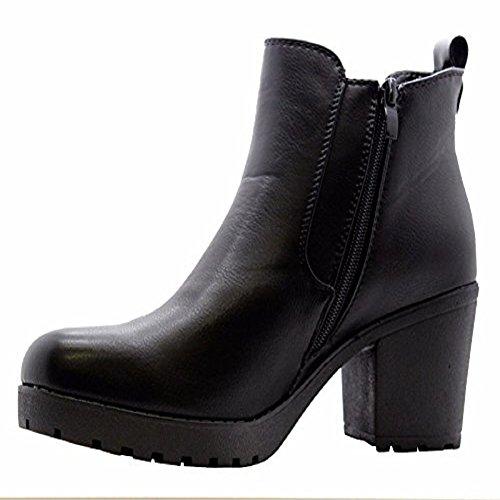 Sole Winter Block You Chelsea Heel Womens Biker Ankle 6 UK Ladies Black Definitely Chunky Boots Grip Shoes Size xvBPq00dw