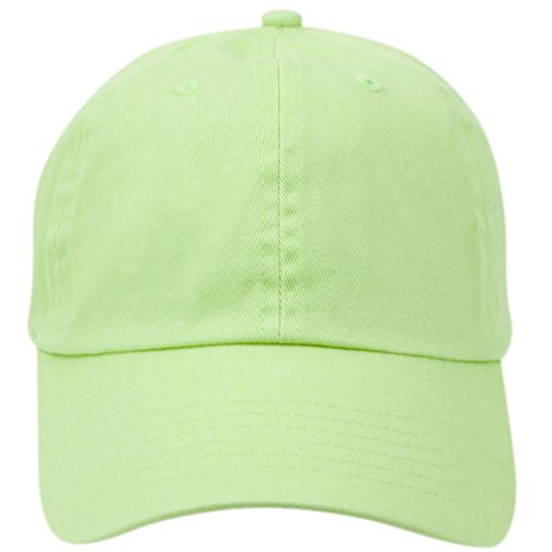 (Washed Low Profile Cotton and Denim Baseball Cap (Lime Green), One Size)