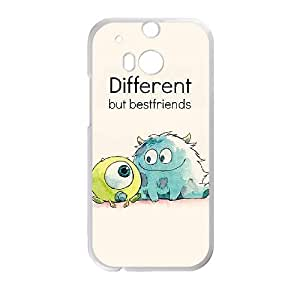 Monsters Inc sully & mike wazowski Different But Best Friend Hard Plastic Cover Case HD Image ,TPU Phone case for HTC One M8,white