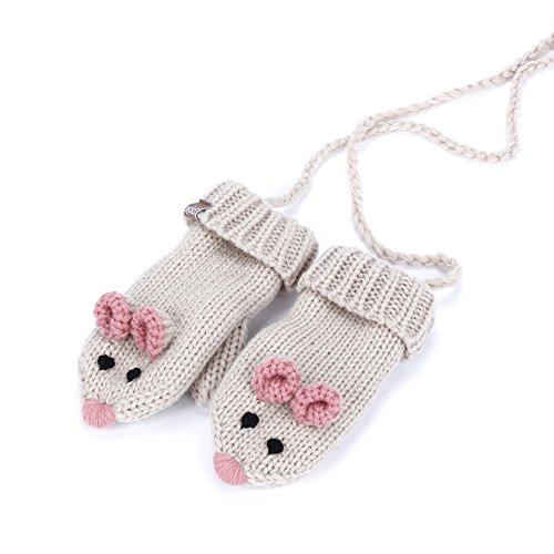 Mouse Mittens with cord (fleece lining) - Beige - ML (3-6Y) ()