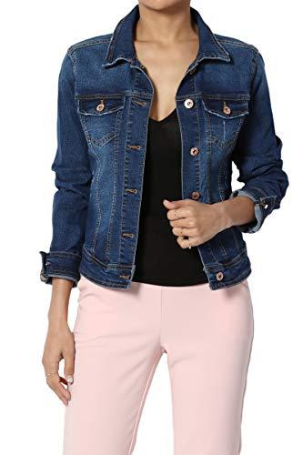 (TheMogan Junior's Classic Vintage Washed Soft & Stretch Jean Denim Jacket Blue S)