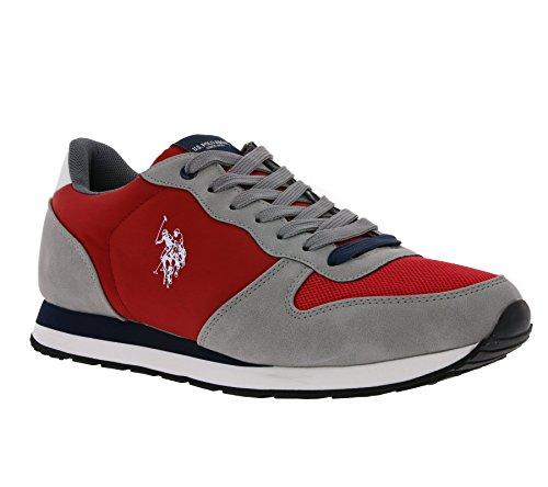 U.S.POLO ASSN. Scarpe Uomo US Polo Sneaker Running Sheridan Club ECOSUEDE/Tessuto White/Dark Blue US18UP14