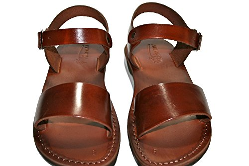 Brown Desert Unisex Leather Sandals / Genuine Handmade Leather Holy Land Biblical Jesus Sandals (EURO  42)