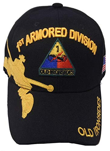 US Warriors U.S. Army Armored Division Baseball Hat One Size Black (One Size, 1st Armored Division)