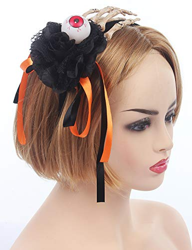 Halloween Heaband Skull Eyes Orange Women's Costume Hair Accessories Skeleton Carnival Headband Halloween Spider Ghost Pumpkin Hair Hoop Cosplay Devil Headband ()