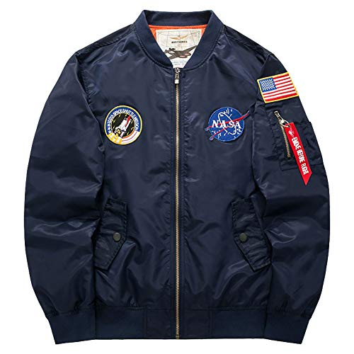 Navy Us Jackets Blue - Honiee Men's Bomber Flight Jacket with Patches (US M, Navy)
