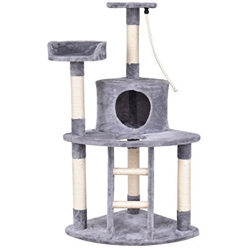 Tangkula Cat Tree Cat Tower Pet Furniture Kitten Activity Tower Condo with Perches & Scratching Posts Rope Activity Centre for Kittens (Beige+Grey) (48