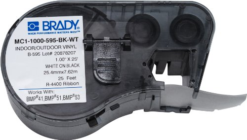 Brady Cartridge - Brady MC1-1000-595-BK-WT Labels for BMP53/BMP51 Printers
