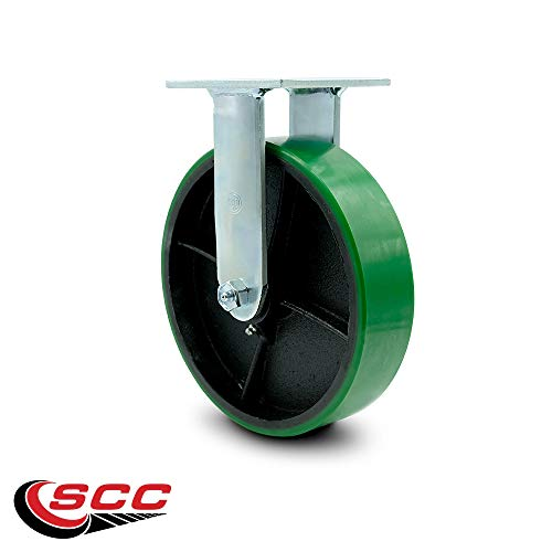 Service Caster - 8'' x 2'' Polyurethane Wheel Caster Set - Green on Black - 2 Swivel w/Brakes/2 Rigid - Non Marking - 5,000 Lbs Total Capacity - Set of 4 by Service Caster (Image #4)