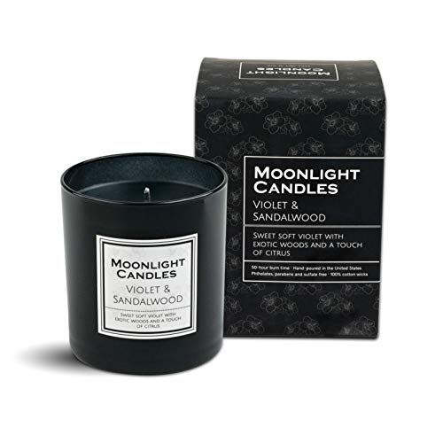 Moonlight Scented Candles (Violet and Sandalwood) 11 oz. | Hand Poured in the US | Natural Black Soy Wax Cotton Wick | Free of Parabens Phthalates Sulfates