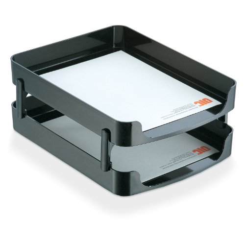 Officemate 2200 Series Front Load Tray, with Supports, Black, 2-Pack (22236) ()