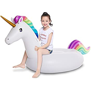 Dreambuildertoy Giant 5ft Inflatable Unicorn Pool Float Ring Swim Tube Fun Party Toy