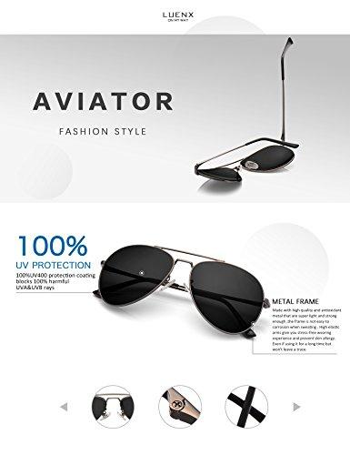 bc10a756ad LUENX Aviator Sunglasses Polarized Men Women with Accessories Metal Frame  UV 400 60MM (18-