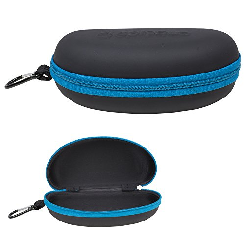 Waterproof Sunglasses and Eyeglasses Case - Durable, Hard EVA Zippered Glasses Holder with Back Pack Clip - Blue - by Splaqua (Carabiner Hard Carry Case)