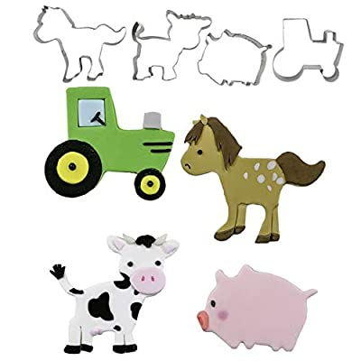 Farm, Pig, Horse, Cow, Tractor Cutie Cupcake Mini Cookie Cutters by Autumn Carpenter for Cookies, Fondant, or Gum Paste