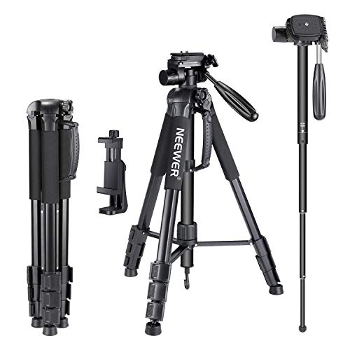 Neewer 70 inches Aluminium Camera Tripod Monopod with 3-Way Swivel Pan Head,Cellphone Holder, Bag for iPhone,Samsung,Huawei Smartphone,DSLR Camera,Load Up to 8.8 Pounds Black (SAB264)